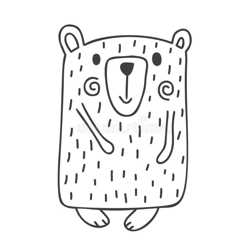 Illustration tirée par la main de vecteur d'un ours drôle mignon d'hiver faisant une promenade Conception scandinave de style de  illustration stock