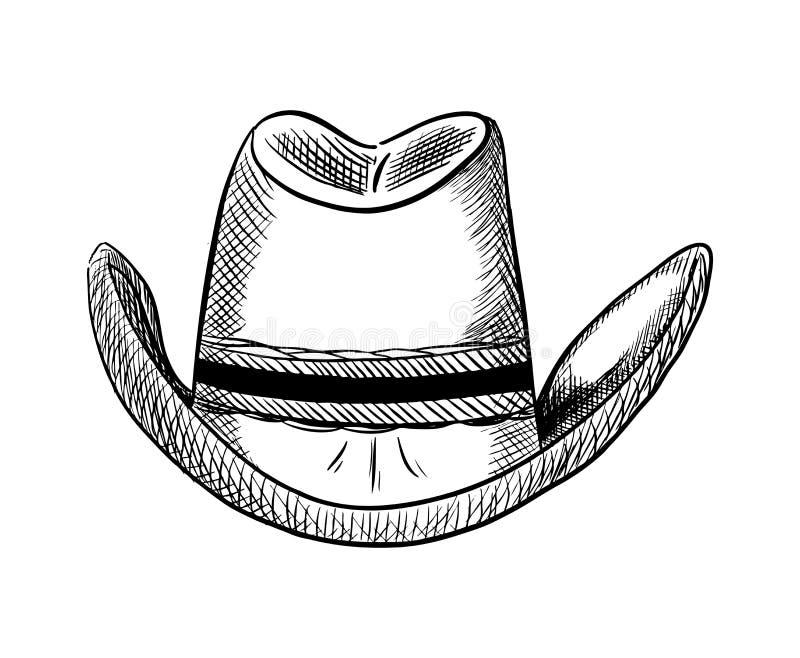 Illustration tirée par la main de vecteur de chapeau de cowboy, style occidental de pays illustration de vecteur