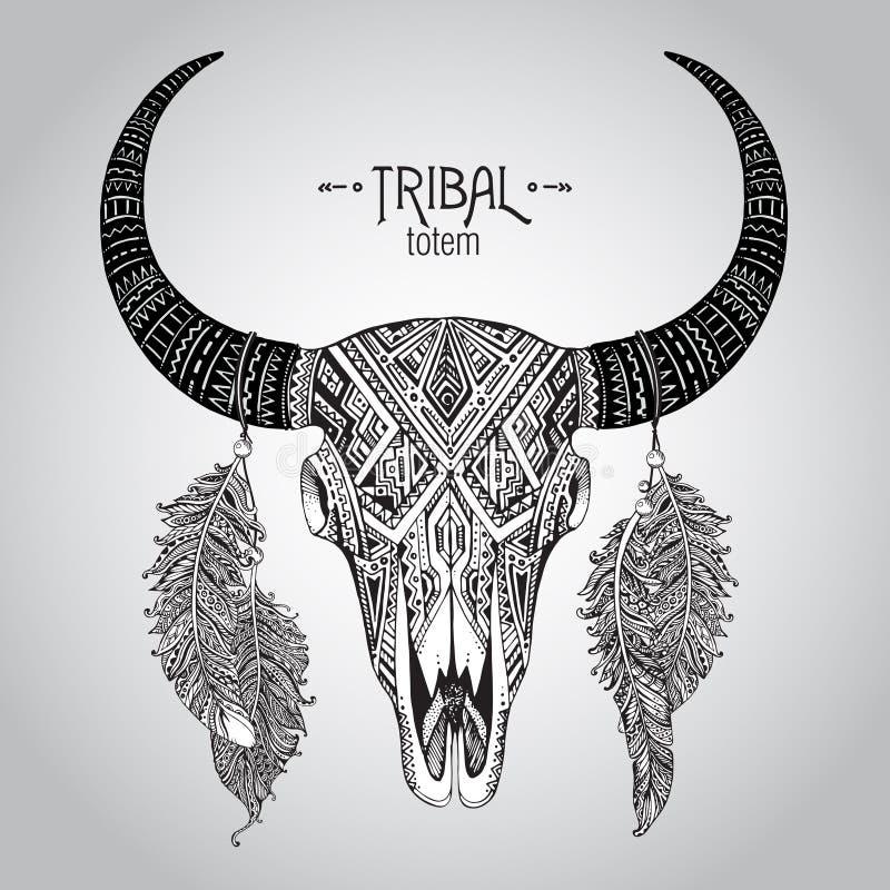 Illustration tirée par la main de vecteur de crâne de taureau avec des plumes illustration de vecteur