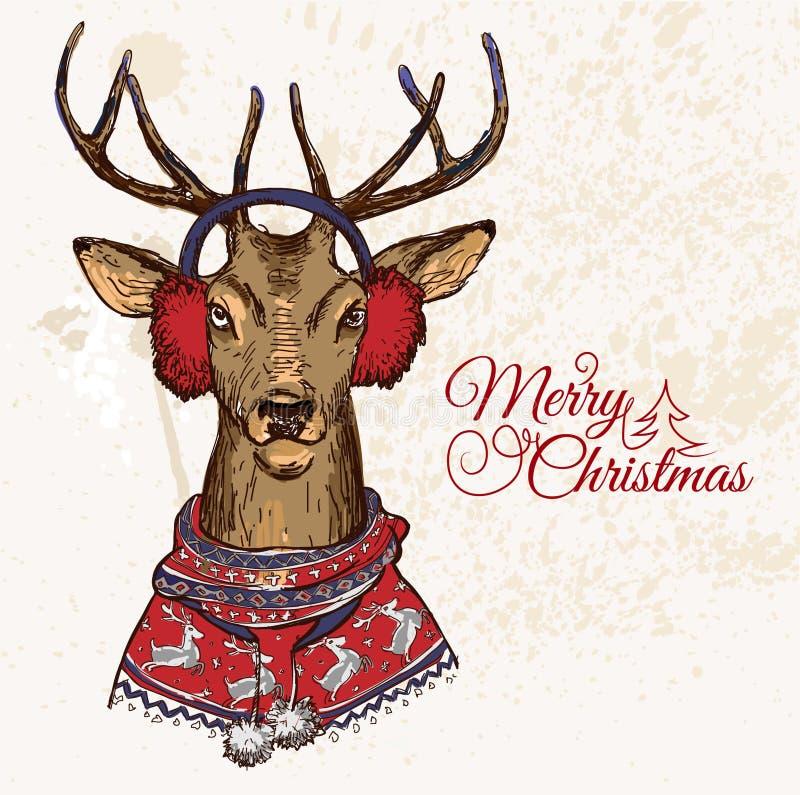 Illustration tirée par la main de vecteur de hippie de cerfs communs dans le chandail de jacquard, carte de Joyeux Noël illustration de vecteur