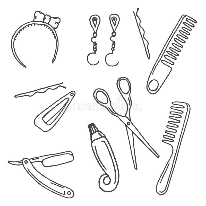 Illustration tirée par la main de vecteur des accessoires de coiffure sur le fond blanc illustration de vecteur