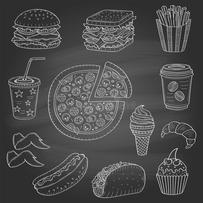 Illustration tirée par la main de vecteur des aliments de préparation rapide illustration stock