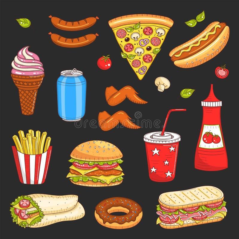Illustration tirée par la main de vecteur des aliments de préparation rapide illustration de vecteur