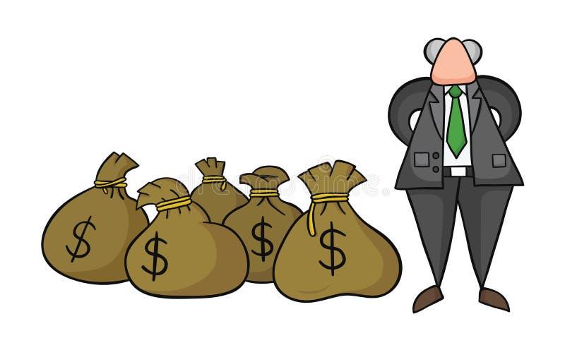 Illustration tirée par la main de vecteur des riches de patron avec des sacs à argent du dollar illustration libre de droits