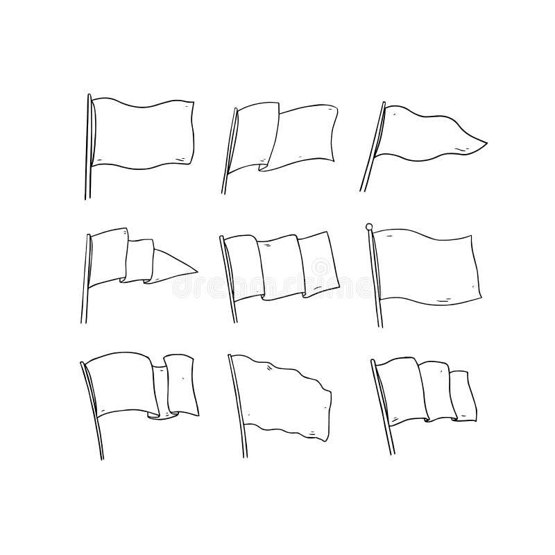 Illustration tirée par la main de vecteur de drapeau sur le fond blanc Indicateur blanc blanc Clipart (images graphiques) d'ensem illustration stock