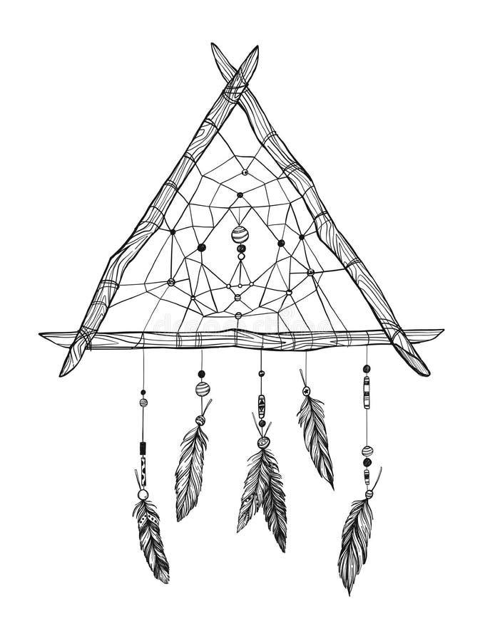 Illustration tirée par la main de vecteur - Dreamcatcher Ele tribal de conception illustration stock