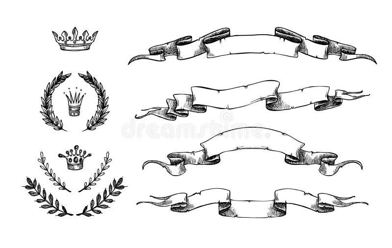 Illustration tirée par la main de vecteur - ensemble de rubans et d'autres éléments illustration de vecteur