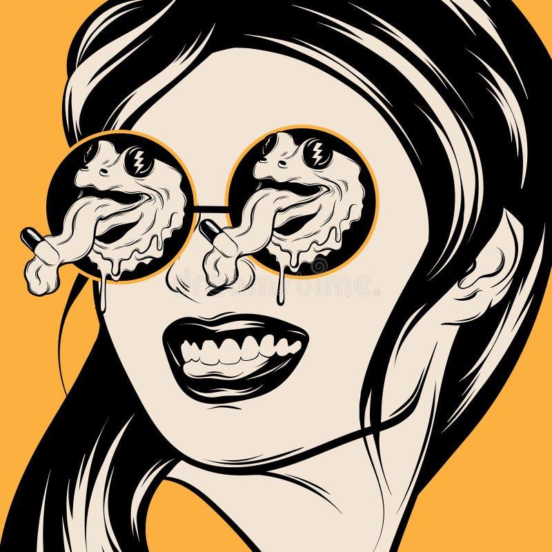 Illustration tirée par la main de vecteur de fille de sourire dans des lunettes de soleil avec des grenouilles illustration stock