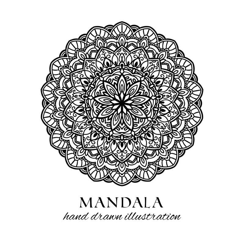Illustration tirée par la main de vecteur de fleur de mandala pour la coloration illustration stock