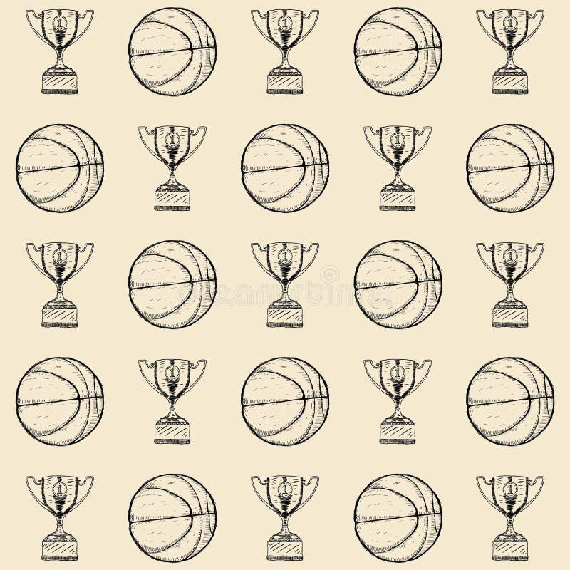 Illustration tirée par la main de vecteur de fond de basket-ball illustration libre de droits