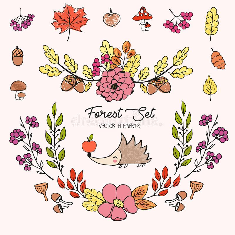 Illustration tirée par la main de vecteur, grande forêt d'automne réglée avec le petit hérisson mignon dessiné avec les crayons c illustration libre de droits