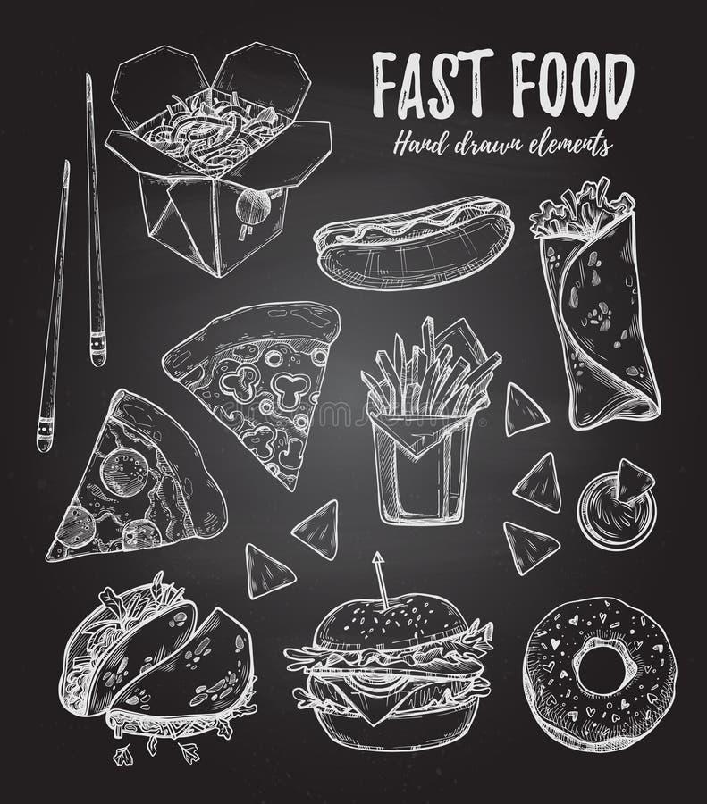 Illustration tirée par la main de vecteur - hot-dog d'aliments de préparation rapide, hamburger, illustration stock