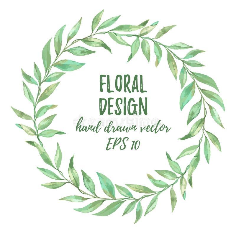 Illustration tirée par la main de vecteur Imitation d'aquarelle floral illustration stock