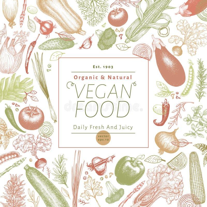 Illustration tirée par la main de vecteur de légumes Rétro conception gravée de bannière de style Peut être l'utilisation pour le image libre de droits