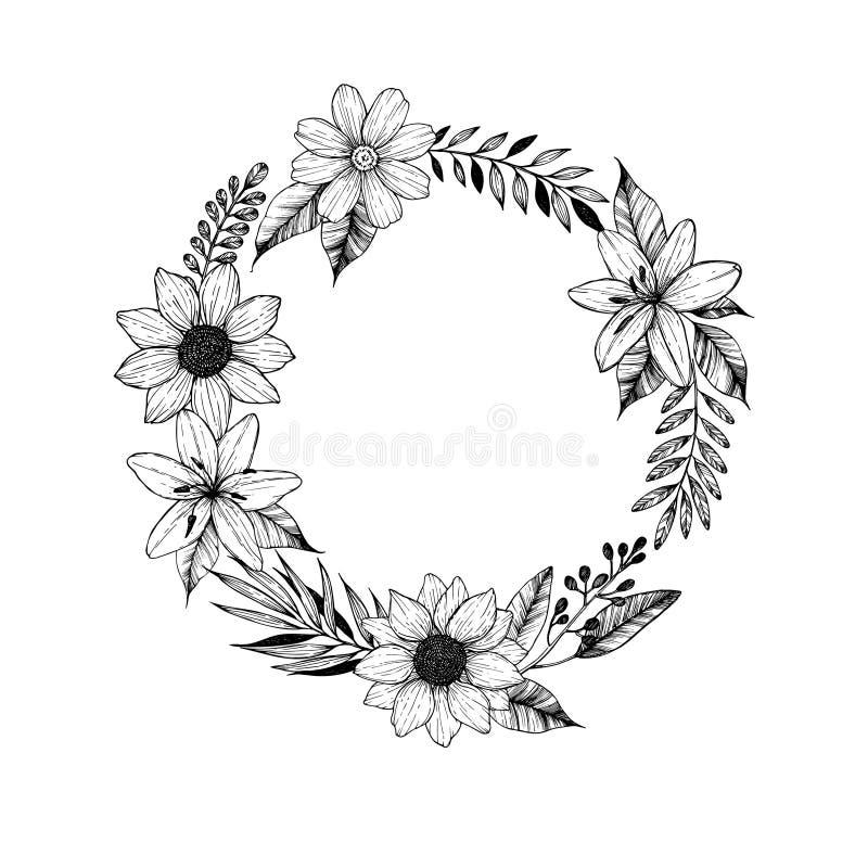 Illustration tirée par la main de vecteur Laurel Wreath avec les fleurs noires illustration de vecteur