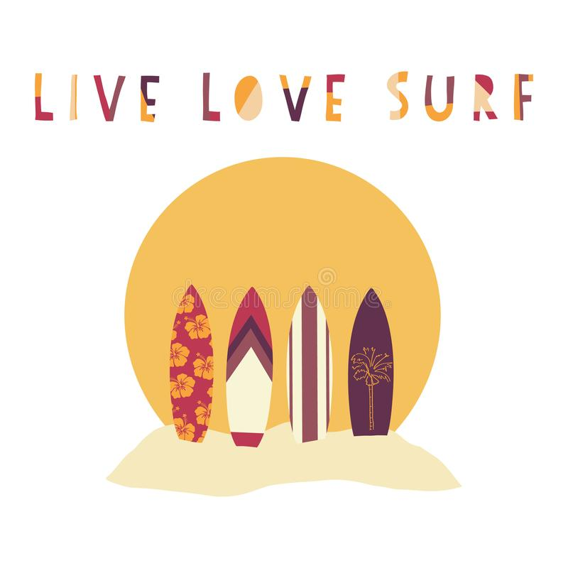 Illustration tirée par la main de vecteur de Live Love Surf Planches de surf devant le coucher du soleil de plage Slogan surfant  illustration stock