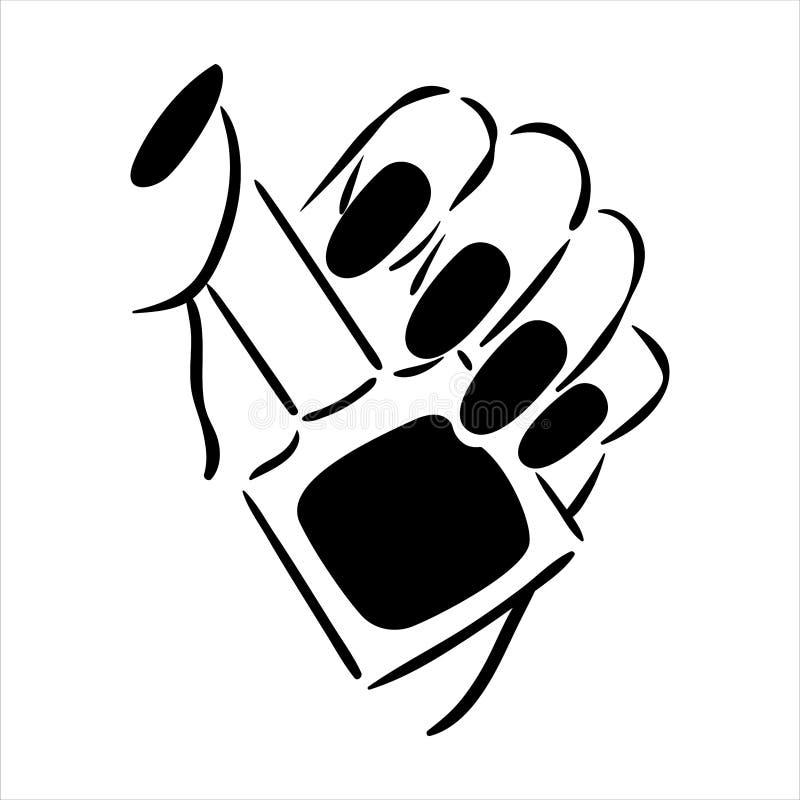 Illustration tirée par la main de vecteur de manucure et de vernis à ongles sur des mains de femme illustration de vecteur