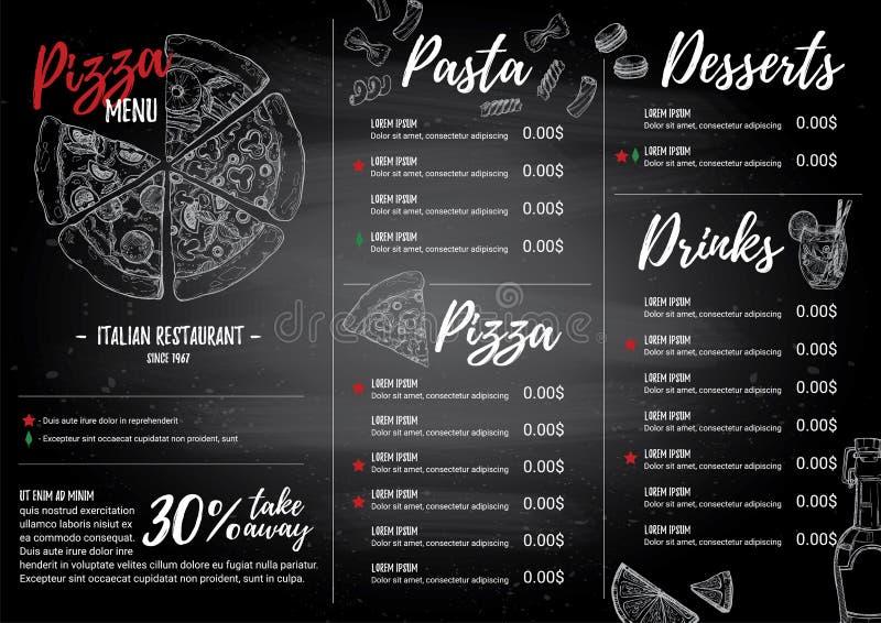 Illustration tirée par la main de vecteur - menu italien Pâtes et pizza illustration libre de droits