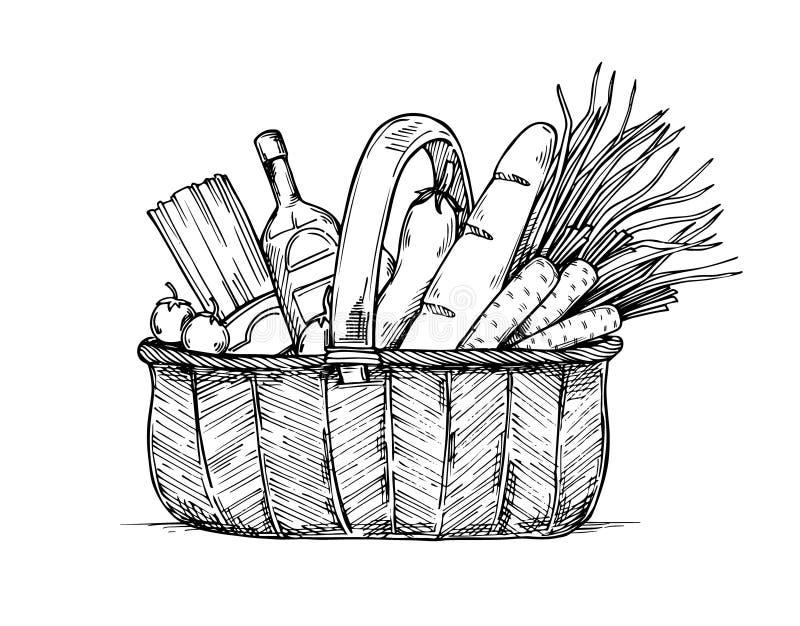 Illustration tirée par la main de vecteur - panier à provisions de supermarché illustration stock