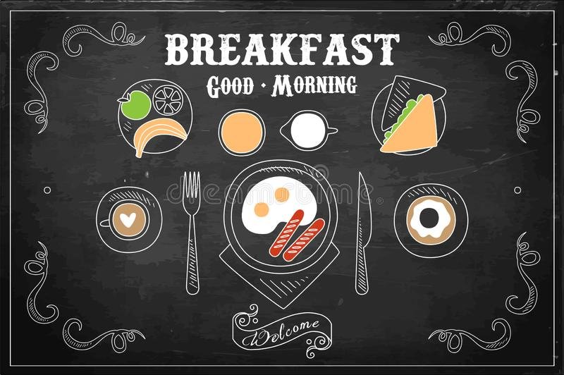 Illustration tirée par la main de vecteur de petit déjeuner savoureux sur le tableau noir Oeufs avec des saucisses, beignet doux, illustration de vecteur