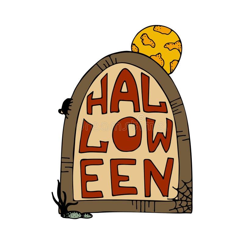 Illustration tirée par la main de vecteur pour la partie de Halloween gravestone illustration libre de droits
