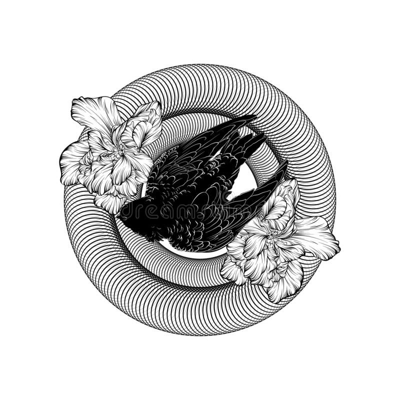 Illustration tirée par la main de vecteur de rapide avec des fleurs d'isolement image libre de droits