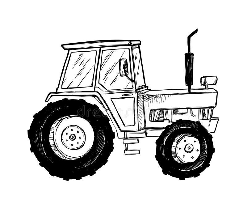Illustration tirée par la main de vecteur - tracteur de ferme Agriculture illustration de vecteur