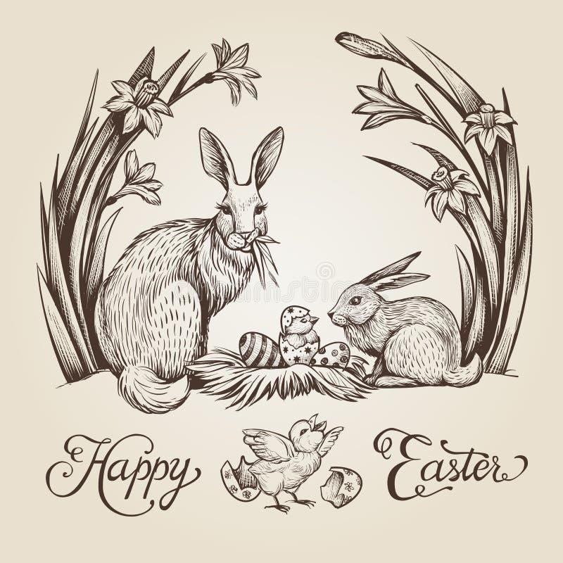 Illustration tirée par la main de vintage de Pâques Design de carte heureux de vecteur de Pâques avec des lapins et des fleurs illustration stock