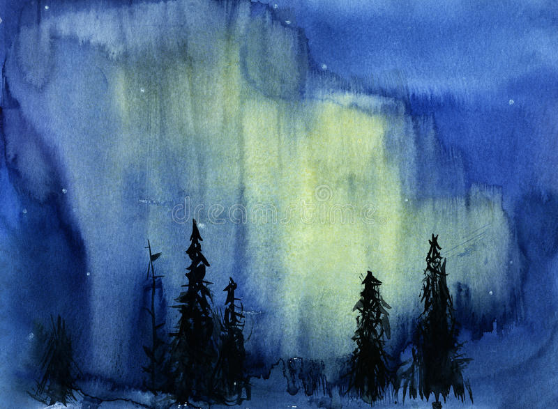 Illustration tirée par la main de vue de nuit avec les lumières du nord illustration stock