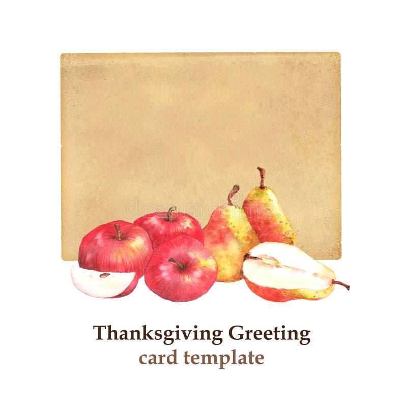 Illustration tirée par la main des poires mûres et des pommes rouges sur la vieille carte de papier illustration de vecteur