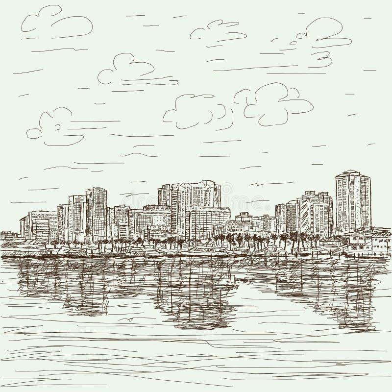 Paysage urbain tiré par la main illustration de vecteur