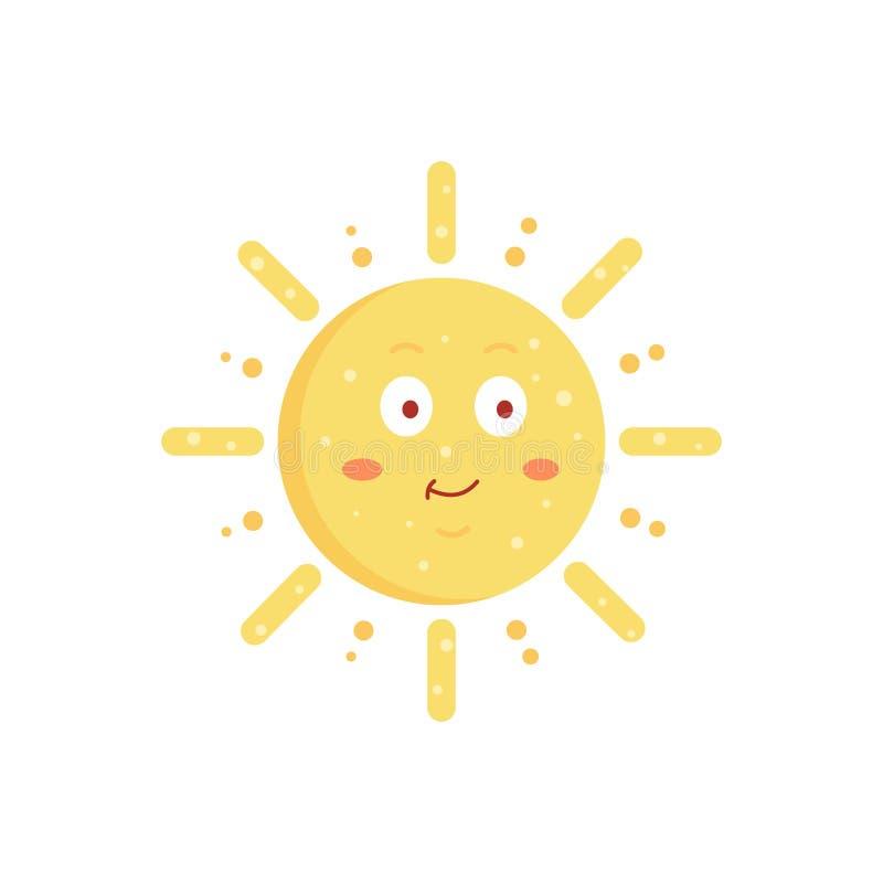 Illustration tirée par la main du soleil de vecteur drôle Icône mignonne d'émoticône du soleil Emoji ensoleillé de visage d'été illustration libre de droits