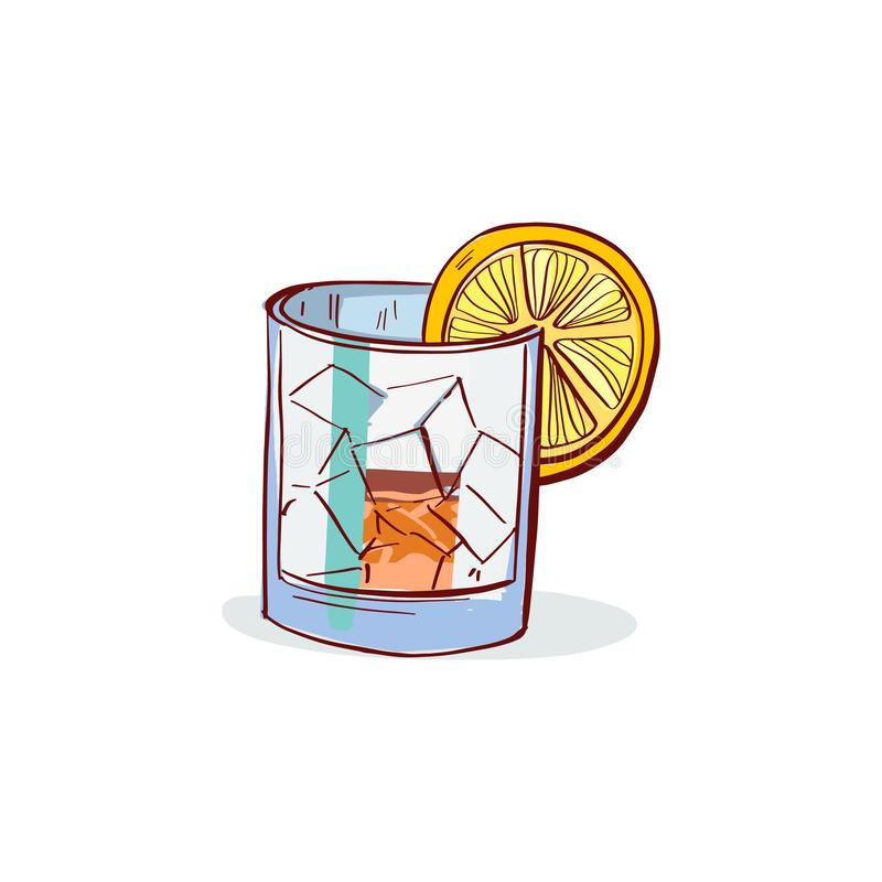 Illustration tirée par la main en verre de vecteur de boissons de whiskey Whiskey en glace illustration de vecteur