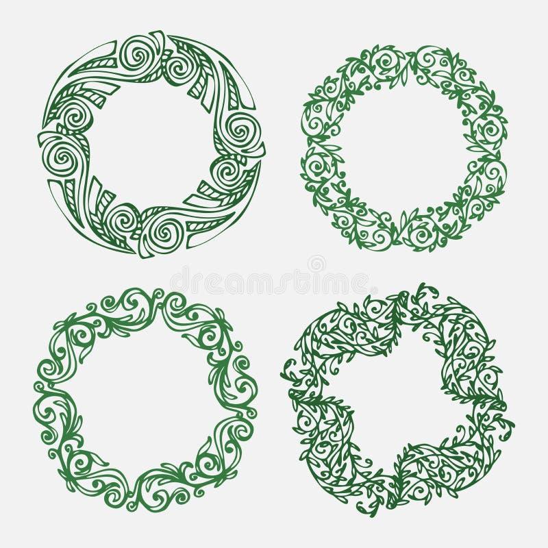 Illustration tirée par la main Ensemble décoratif de vintage bel de lauriers, de branches et de guirlandes Guirlande antique grec illustration de vecteur