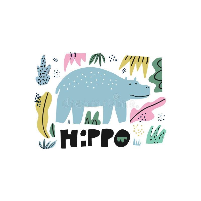 Illustration tirée par la main plate d'hippopotame illustration de vecteur