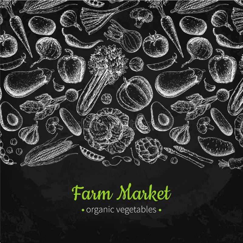 Illustration tirée par la main végétale de vecteur de vintage Affiche du marché de ferme Ensemble de végétarien de produits biolo illustration stock