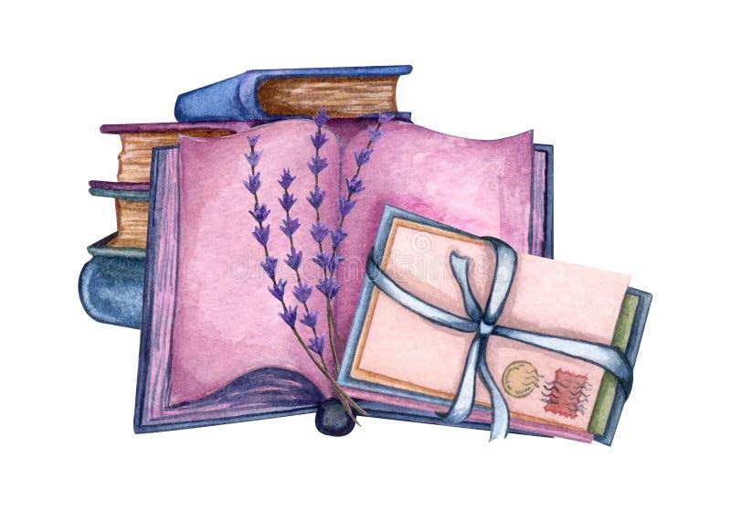 Illustration tir?e par la main d'aquarelle une pile de vieux livres, brindille de lavande, livre ouvert, lettres d'amour illustration libre de droits