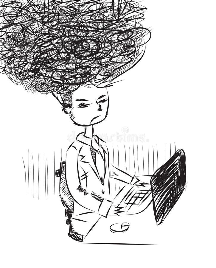 Illustration. Of a tired man at work vector illustration