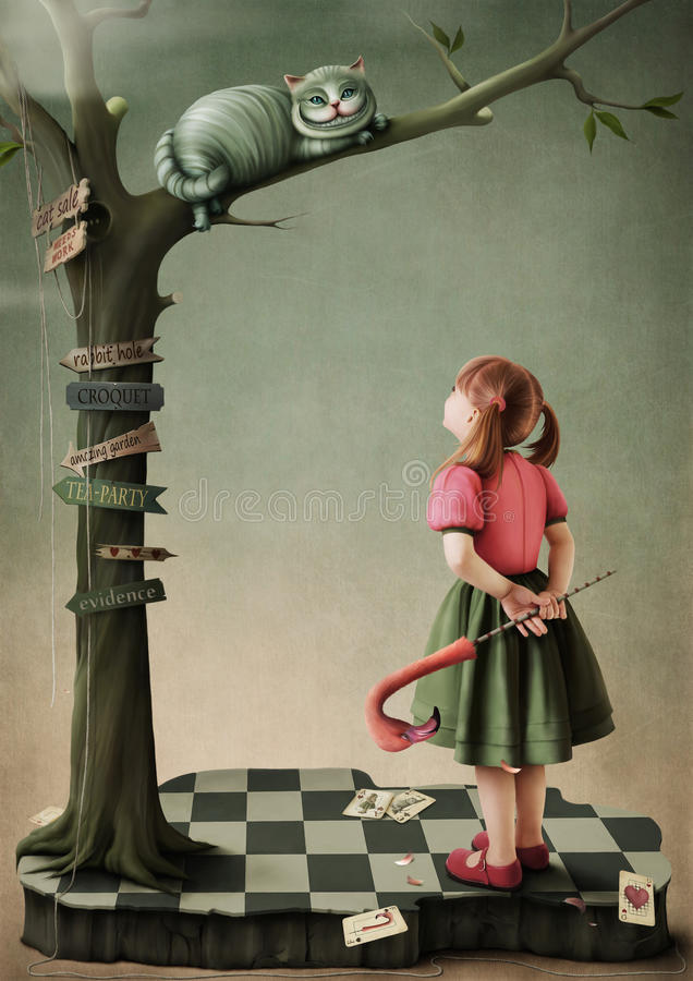 Illustration to the fairy tale Alice in Wonderland. Greeting card or poster. Computer Graphics