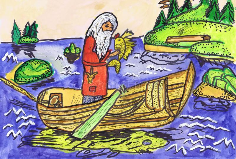 Illustration to the fairy tale by A.S. Pushkin `Tale of the fisherman and a small fish`. Children s drawing stock photo