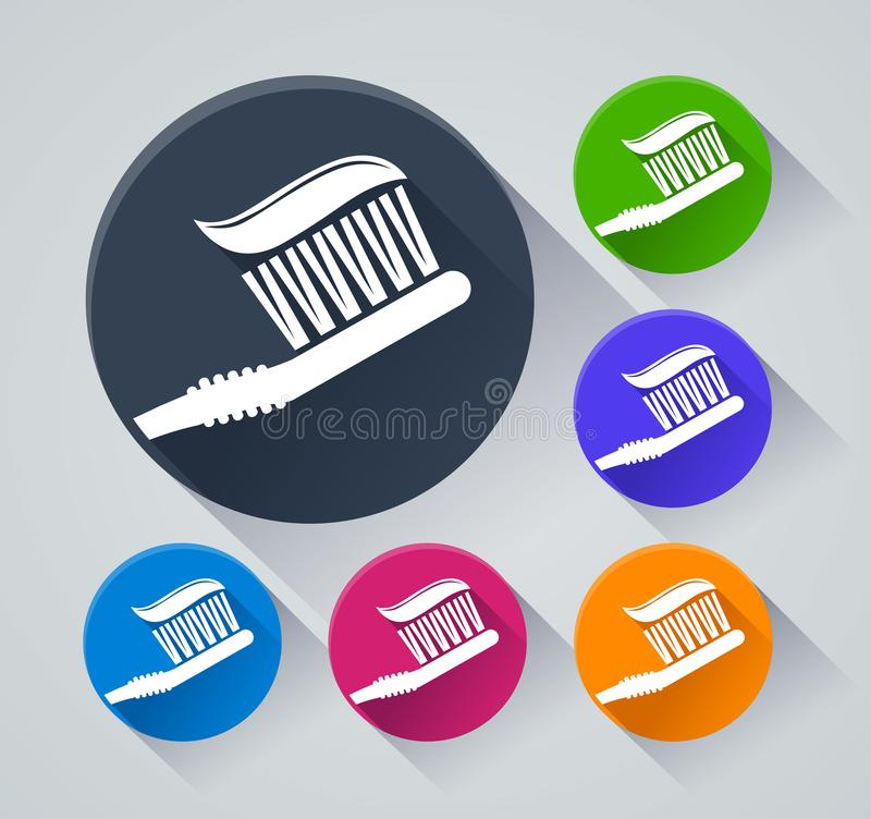 Toothbrush circle icons with shadow royalty free illustration