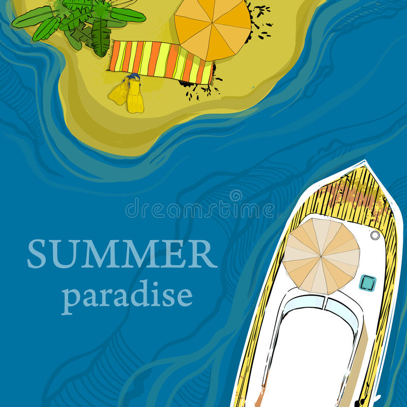 Illustration of top view of sea, ship and beach with sand, umbrellas, palms. Vector illustration of top view of sea, ship and beach with sand, umbrellas, palms vector illustration