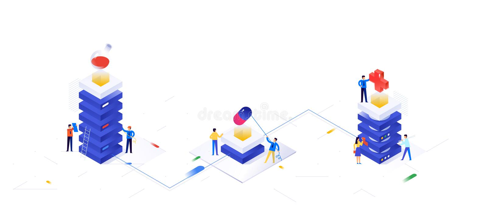 Illustration on the topic of pharmacology. Vector illustration. Pharmacy. Pharmaceutical industry, data servers. Background for. The banner. Image is isolated vector illustration