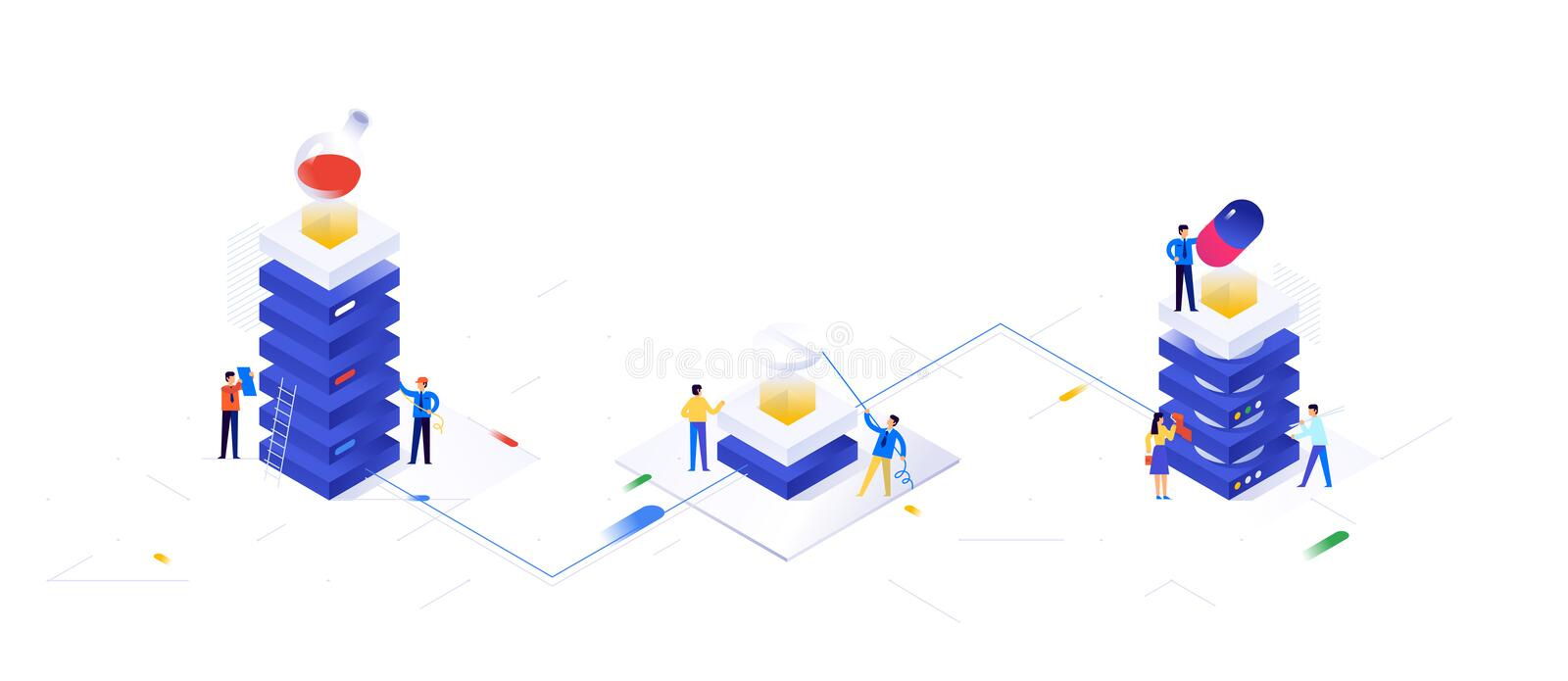 Illustration on the topic of pharmacology. Vector illustration. Pharmacy. Pharmaceutical industry, data servers. Background for. The banner. Image is isolated stock illustration