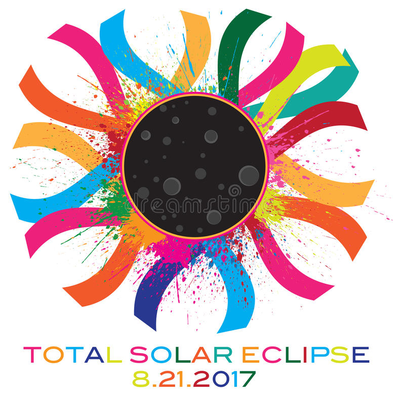 Illustration totale de vecteur de Corona Text Color de l'éclipse 2017 solaire illustration stock