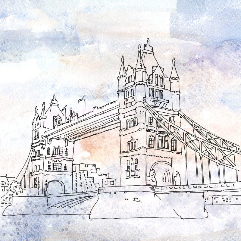 Illustration of Tower Bridge in London, England. Watercolored illustration of Tower Bridge which crosses the River Thames. London, England stock illustration