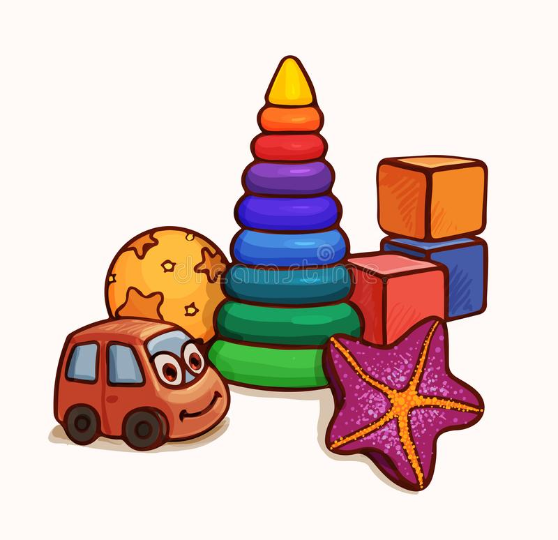Composition of several bright toys. Bright cartoon illustration. Illustration with toys for a small child up to a year or two. Vector drawing suitable for desk stock illustration