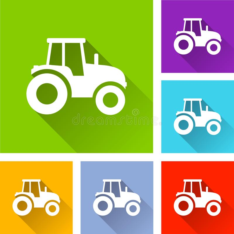 Tractor icons with long shadow stock illustration