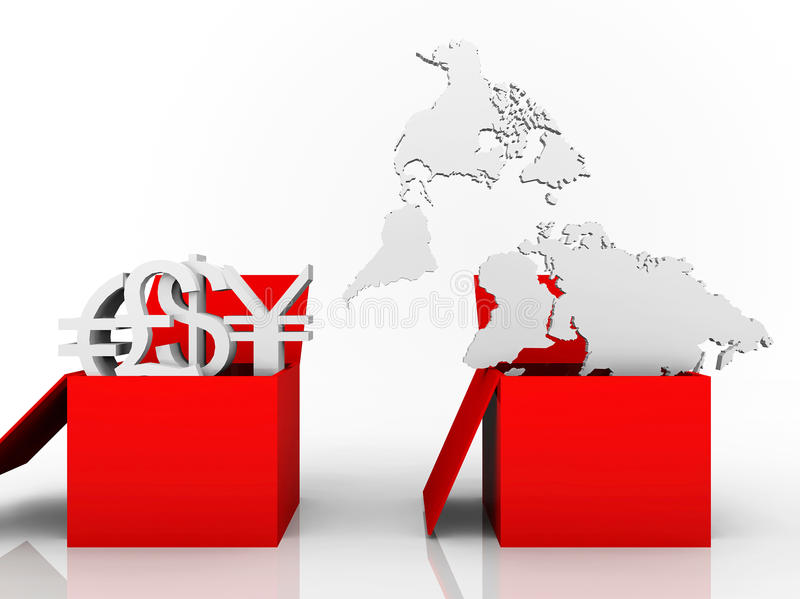 Download Illustration Of Trade Currencies And World Map Stock Illustration - Image: 22858738