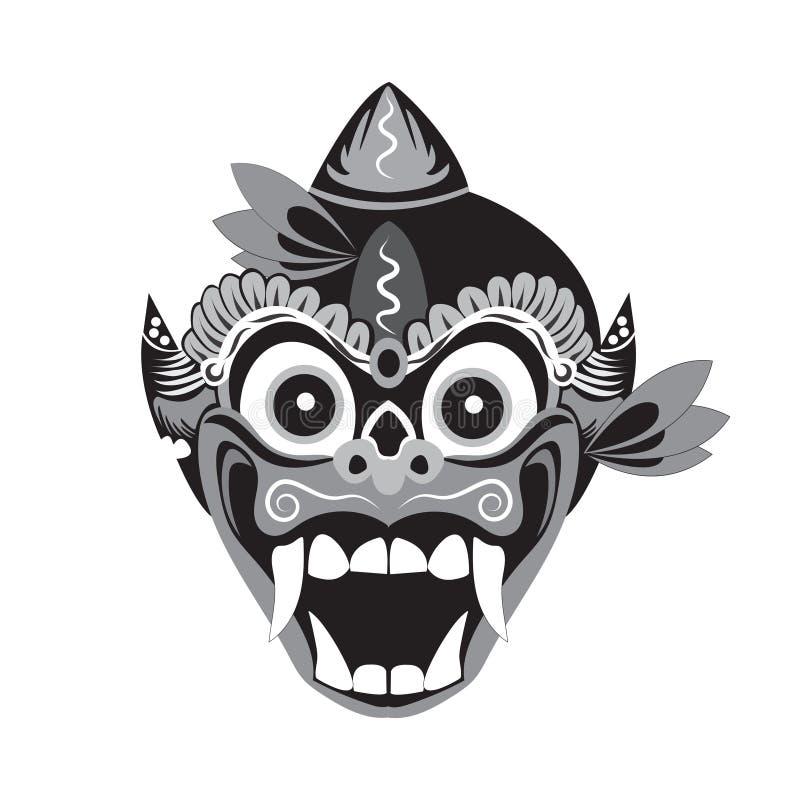 illustration traditionnelle de masque d'un singe avec un fond blanc illustration libre de droits